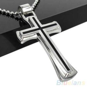 collier en argent et acier inoxydable avec pendentif en croix noire
